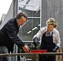 Queen Sonja and Kjell Nupen working on the project. Published 25.06 2011. Handout picture from the Royal Court. For editorial use only - not for sale. Photo: Rolf M. Aagaard / the Royal Court.